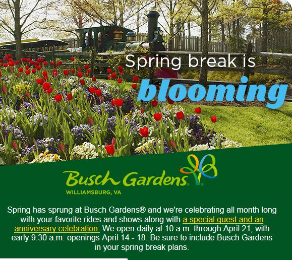 Busch gardens williamsburg spring break Busch gardens williamsburg discount tickets