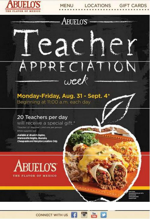 Teacher Appreciation Week From Our Partners At Abuelo S