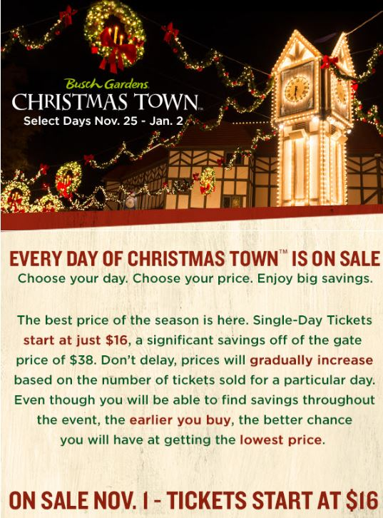 Great Military Discount Rate At Local MWR/ITT Offices For Busch Gardens Christmas  Town Williamsburg: Gallery