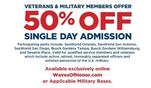 New Military Veteran Offers From Busch Gardens Williamsburg