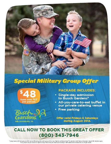 New military group offer from busch gardens you don 39 t want to miss this for Busch gardens free military tickets