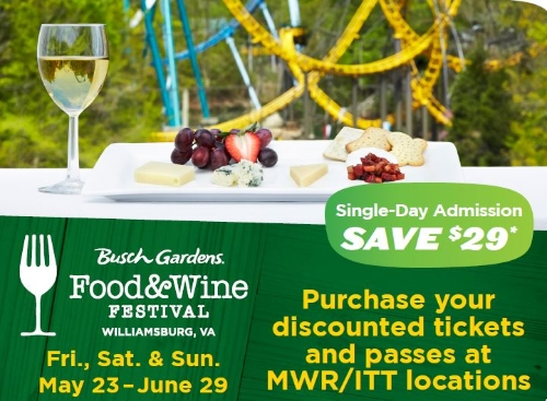 New military discount available for busch gardens Busch gardens williamsburg discount tickets