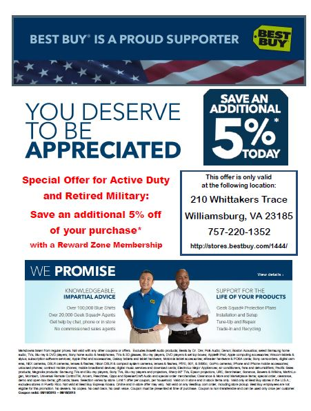 Best Buy Military Discount >> Best Buy Williamsburg Business Militarybridge
