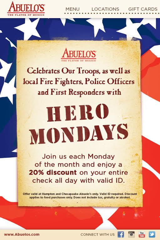 Abuelo 39 s online military discounts and deals hampton for Restaurants that offer military discount