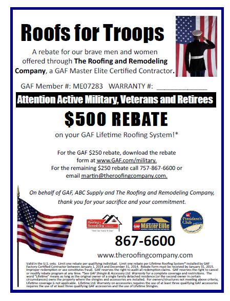 The Roofing Amp Remodeling Company Roofs For Troops