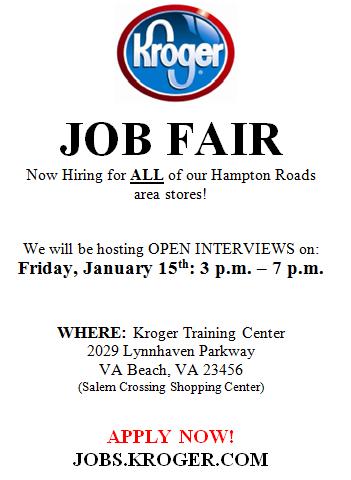 Kroger Hampton Roads Is Hiring Career Fair Is January 15 2016