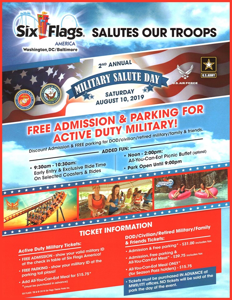 Six Flags America Is Honoring The Military Community With Free Admission Military Discounts August 10 2019